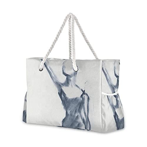 Bolsa de ballet para bosquejo de un brazo, bolsa de playa extendida para piscina, bolsa de hombro para gimnasio, playa, viajes, natación, senderismo, picnic, bolsillos exteriores