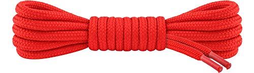 Ladeheid Qualitäts-Schnürsenkel LAKO1003, Elastische Rundsenkel für Arbeitsschuhe und Trekkingschuhe aus 100% Polyester, ø ca. 5 mm Breit, 25 Farben, 60-220 cm Länge (Rot, 160 cm/ø 5 mm)