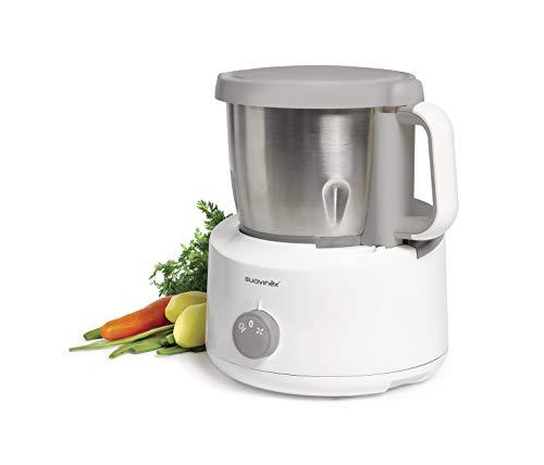Suavinex - Robot de Cocina Bebé 5 en 1: Cocina, Tritura, Calienta, Descongela y Esteriliza. Super Rápido, Fácil de Usar y Limpiar. Jarra y Cuchillas de Acero Inoxidable