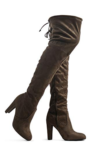 Women's Over The Knee Boots - Sexy Blake Drawstring Stretchy Pull on - Comfortable Block Heel Olive SU 10