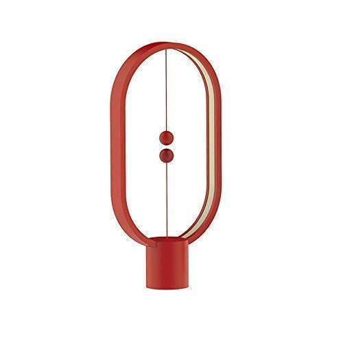 Heng Balance Lamp - Lampe à LED USB à interrupteur magnétique Conjure, Lampe à LED, Lampe de table, Décoration pour chambre à coucher, Salon, Salle à manger et Bureau en bois clair (Rouge)