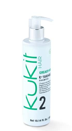 Kukit Hair   Champú Especial para el Cabello con Tendencia a Grasa   Champú Cabellos Grasos bote 300 ml   Formulación con 5 Extractos Botánicos