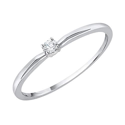 KATARINA Anillo de compromiso de diamantes en oro blanco de 10 k (1/20 cttw, I-J, I1) (Tamaño-8)