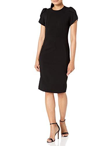 Calvin Klein Women's Tulip Sleeved Sheath Dress, Black 3, 12