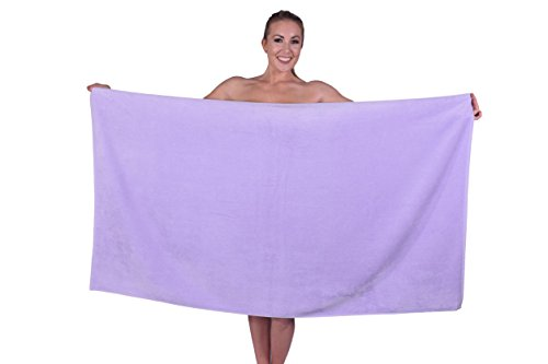 Puffy Cotton Hotel & Spa Luxury Plush Velour Large Beach Towel Bath Sheet, Super Soft and Absorbent - Lavender - Set of 1