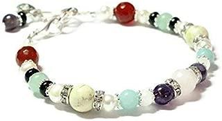 NONA Fertility and Pregnancy Bracelet Featuring Natural Gemstones Rose Quartz, Amethyst, Black Onyx, Moonstone, Amazonite, Chrysoprase for PCOS, Crystal Healing Jewelry