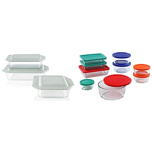 Pyrex Deep Baking Dish Set (6-Piece, BPA-Free Lids) & Simply Store Meal Prep Glass Food Storage Containers (18-Piece Set, BPA Free Lids, Oven Safe),Multicolored