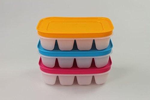 TUPPERWARE Gefrier-Behälter Eiswürfler pink-weiß + blau +orange mini Eiskristall