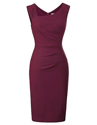 Belle Poque 50s Vintage Retro Rockabilly Kleid Pencil Kleid Knielang weinrot festlich Kleid Größe S BP302-3