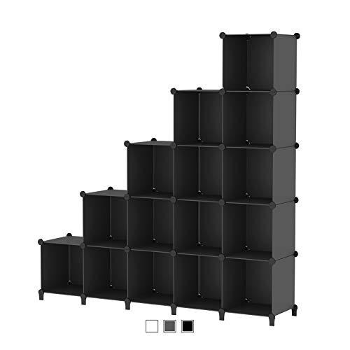 SIMPDIY Storage Modular Cubes 16 Cubes Black (124x124x30cm) Plastic Portable Organizer Bookshelf Shelf Rack…