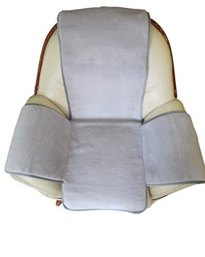 Alpenwolle Sesselschoner Island grau mit Taschen Überwurf Sesselauflage Sitzauflage