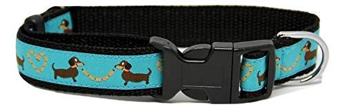 Dog collar dachshund /Sausage dog, blue size small 25 - 38 cm length / 2 cm width
