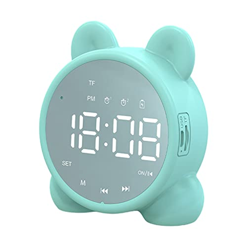 MERIGLARE Reloj de Alarma Inalámbrico Bluetooth Altavoz 1200mAh Pantalla Digital Portátil Smart Brillo Ajuste Dual Alarm Reloj de Alarma para El Dormitorio Rega - Verde