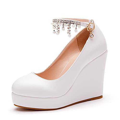 HOYOCE Zapatos De Boda para Mujer Plataforma Cuñas Bombas Borlas Clásicas Diamantes...