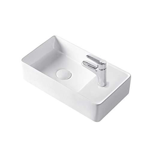 Stilform Gäste WC Keramik Waschbecken für Wandmontage oder Aufsatzwaschbecken mit Hahnloch in 46 x 25 cm in Brillant Weiß oder Schwarz matt