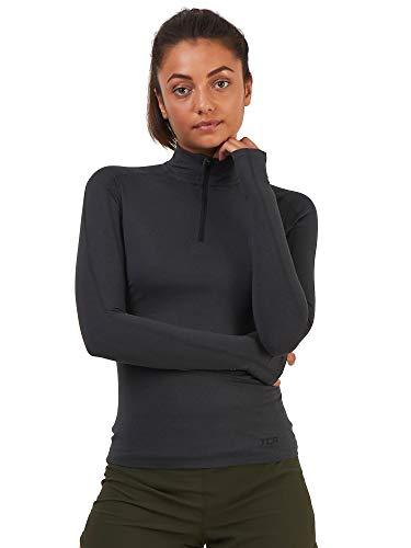 TCA Fusion Quickdry - Camiseta de running para mujer con cuello y media cremallera, manga larga, color antracita, talla XS