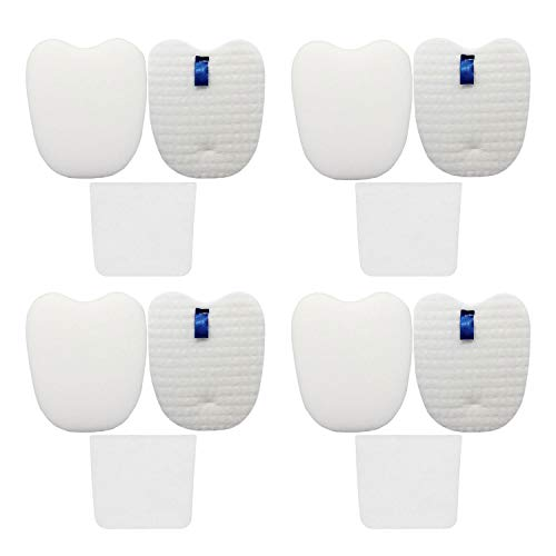 Vacuum Filters Replacement Set for Shark Rocket DuoClean HV380 HV380W HV381 HV382 HV383 HV384Q UV380 ZS360 ZS361C ZS362, 4 Foam & Felt Filters 4 Post-Filters, Compare to Part XPMFK320&XPSTFH380