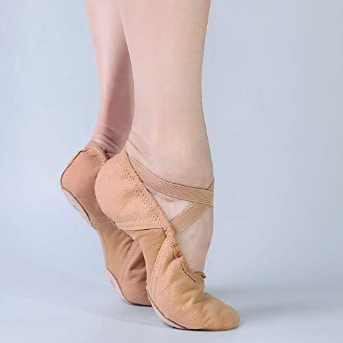 LPZ Jazz Shoes Canvas Ballet Dance Slippers Stretch Fabric Splice Ballet Dance Shoes Girls Cow Leather Ballet Slippers (Color : Pink, Shoe Size : 37)