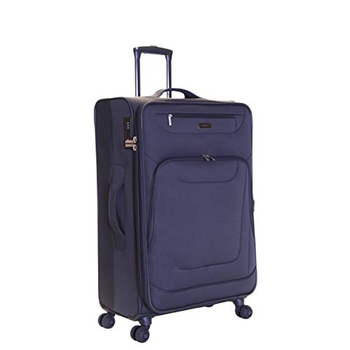Karabar Medium Large Expandable Suitcase Luggage Bag Lightweight 68 cm 3.5 kg 70 litres Soft Shell with 4 Spinner Wheels and Integrated TSA Number Lock, Mayfair Grey