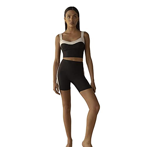 LYA Top Sostén Deportivo Yoga Fitness Correr Gimnasionegro Y Blanco S