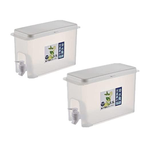 BSKM Jarra De Agua De 3.5L con Jarra De Jugo De Limón del Grifo, Hervidor De Agua Fría del Refrigerador del Hogar, Jarra del Jugo con El Grifo 3,5L/ 2 Piezas