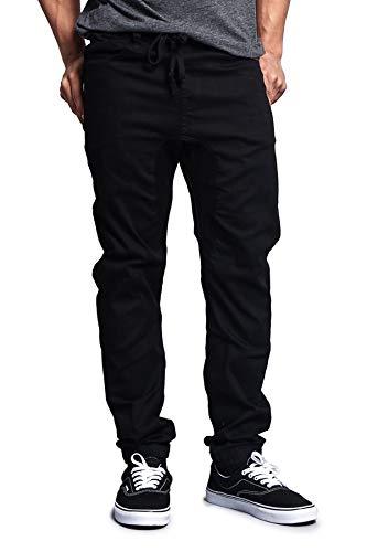 Victorious Mens Twill Jogger Pants, Black, Medium