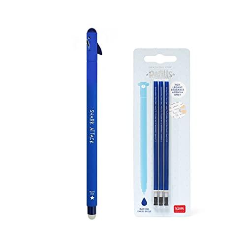 Bolígrafo de gel borrable Shark tiburón tinta azul + kit 3 recambios de recarga azul Legami para niña