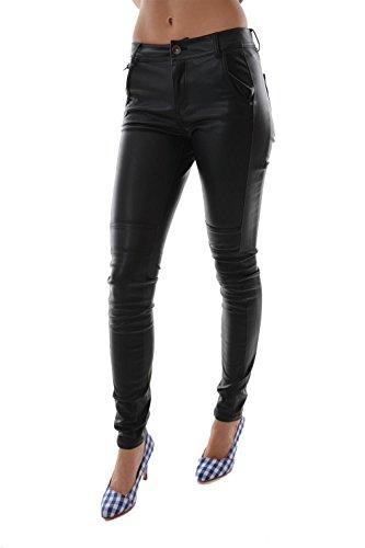 ESPRIT Damen Skinny Hose in Lederoptik, Gr. 42/L32 (Herstellergröße: 42), Schwarz (BLACK 001)