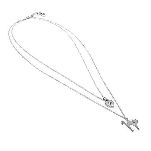 VESTOPAZZO LO53061 – Collar de 2 microcadenas con gato y orma
