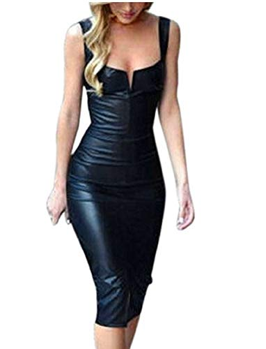 Shujin Damen Winter Langarm oder Armellos elegant Midi Bleistiftkleid Bodycon Clubwear Leder Dress in Latex Leder Lack Optik (XXL, Schwarz 4)