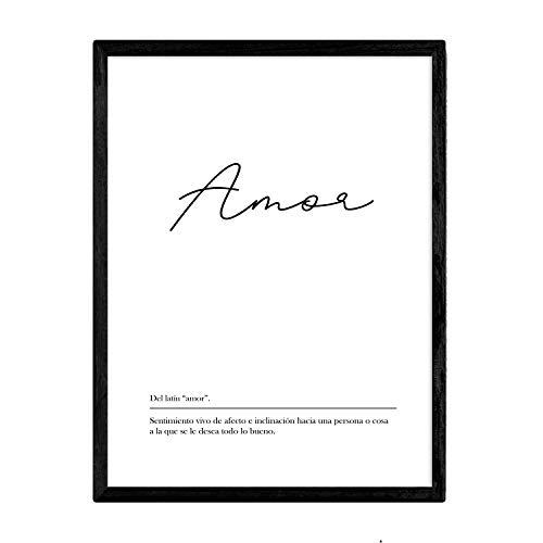 Lámina con la definición de la palabra Amor en tamaño A3 sin marco con Fondo Blanco nórdico