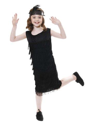 Mädchen Schwarz Flapper / 1920 Kleid der 7-9 Jahre