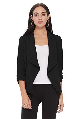 Women's Open Front Long Sleeves Work Blazer Casual Buttons Jacket Suit 16W Black