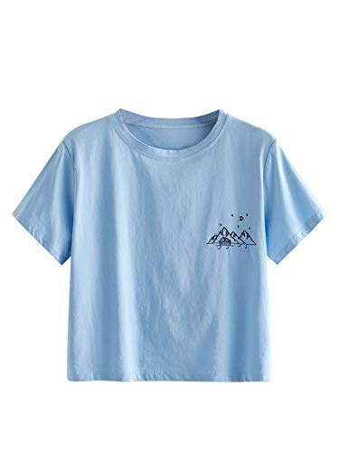 MakeMeChic Women's Letter Print Crop Tops Casual Short Sleeve Tees A Blue S