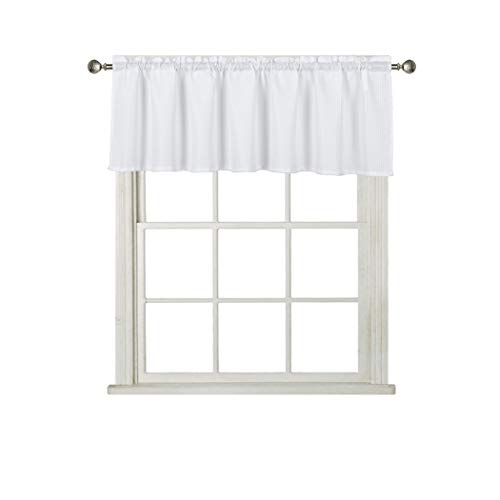 Home Queen Waffle Curtain Valance Window Treatment for Kitchen Bathroom Window, Straight Window Valance, Set of 1, 60 X 16 Inch, Solid White