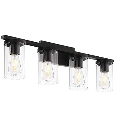 4-Light Vanity Light, Industrial Metal Wall Light Fixtures in Matte Black for Bathroom (Black, 4-Light)