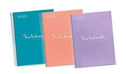 Miquelrius - Pack 3 Cuadernos A4 Cuadriculados Emotions, Espiral Microperforado, Cubierta de Cartón Forrado, Tamaño 210 x 297 mm, 4 Taladros, 80 Hojas de 90 g, Cuadrícula de 5 x 5 m, Pastel