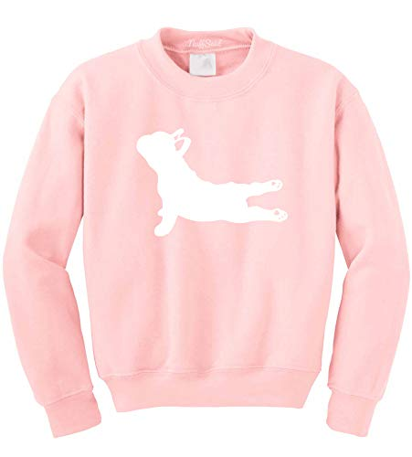 NuffSaid Yoga French Bulldog - Crewneck Sweatshirt Sweater Pullover Hoodie - Unisex- Namaste Yoga - Namastay in Bed - Yoga Dog (Small, Light Pink)