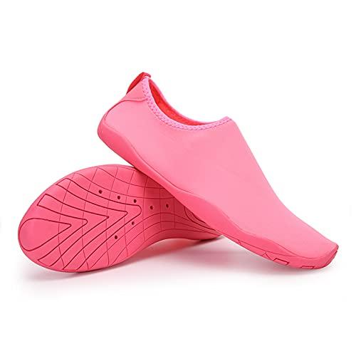 Hotroad Zapatos de agua ligeros descalzos sin cordones para la playa, para hombres y niños, River, camping, viajes, deportes, correr, natación, piscina, ducha, cosas, calcetines para yoga, surf, zapatillas, rosa, 8,5 mujeres/7 hombres