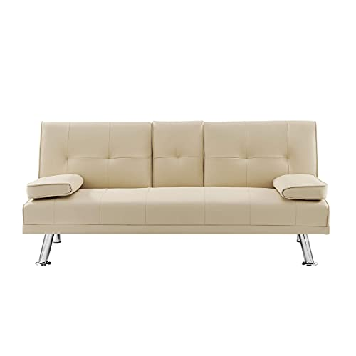 BRAVICH Modern Manhattan CREAM IVORY Cinema Faux Leather 3 Seater Sofa Bed Folding Table Couch Settee Click Clack Sofa Bed Recliner Bed Sofa