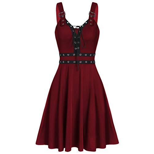 Vimoli Vestidos Casual Para Mujer Elegante Con Irregular Y Vendaje Sólido Fresco De Vestidos Con Bolsillo(Vino,S)
