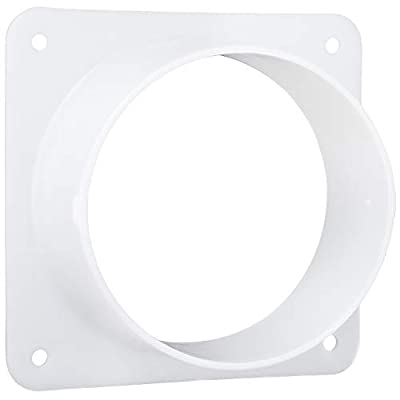 Dryer Vent Wall Plate (4 Inch, White) Plastic Duct Connector Flange for Ventilation Straight Pipe, Cooling and Heating. Small Through The Wall Trim Collar Ducting with Mounting Plate Quick Connect