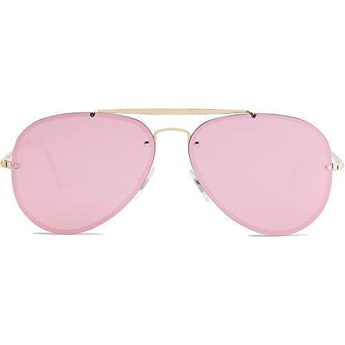 SOJOS Men's Women's Aviator Sunglasses, Rimless Metal Frame TRENDALERT SJ1105 with Gold Frame/Pink Mirrored Lens