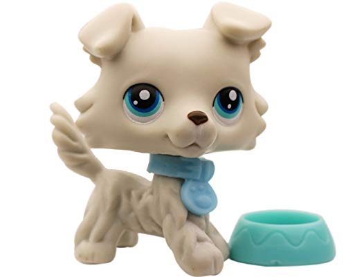 LPSXIE LPS Collie 363 Grey BLYE Eyes Dog Figure Toy Collection with Accessories Boy Girl Gift Set (lps Collie 363)