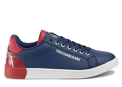 Trussardi Jeans Sneaker Leder Printing, Schnürschuhe für Herren, - Blau Rot - Größe: 42 EU