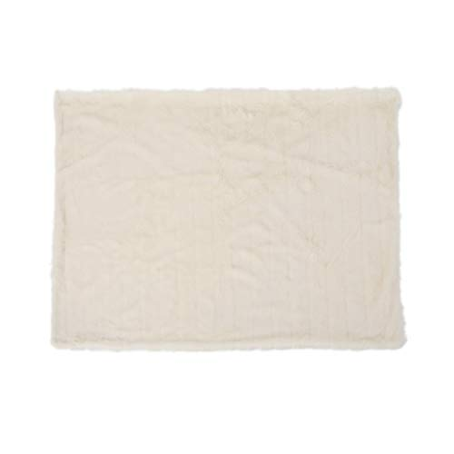 Great Deal Furniture 304239 Laraine Furry Glam White Faux Fur Throw Blanket