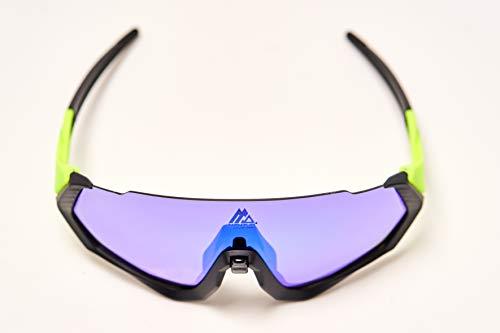 Gafas de sol deportivas. CE Certificación. Fotocromáticas, polarizadas, protección UV 400. Lentes intercambiables. Puente nasal ajustable. Material TR90 flexible e irrompible. (Verde fosfi)