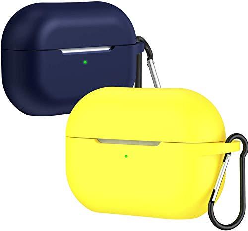 ivoler Funda para Airpods Pro con LED Frontal Visible, Anti-rasguños, Anti-Polvo, Funda Silicona con Mosquetón para Airpods Pro (2019) - Amario y Azul Oscuro