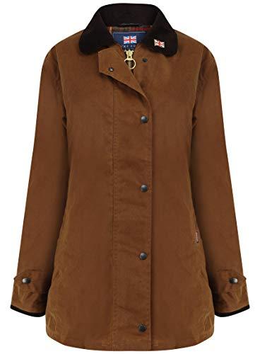 Nicky Adams Countrywear Damen Wachsjacke, wasserdichte gewachste Baumwolle, Reitsport mit Belüftungsöffnungen Gr. 38, Sand