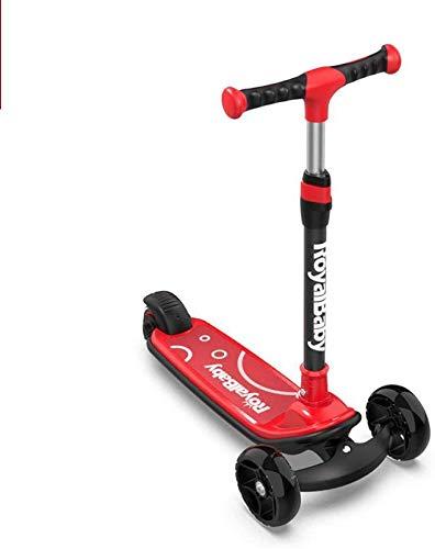 Children's Scooter Pu Led Wiel met Tilting High-elastisch wiel, in hoogte verstelbaar, geschikt for kinderen van 3 tot 14 jaar oud, rood, skateboard Leuk speelgoed voor kinderen.